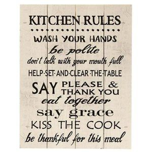 NWT Kitchen Rules Pallet Sign